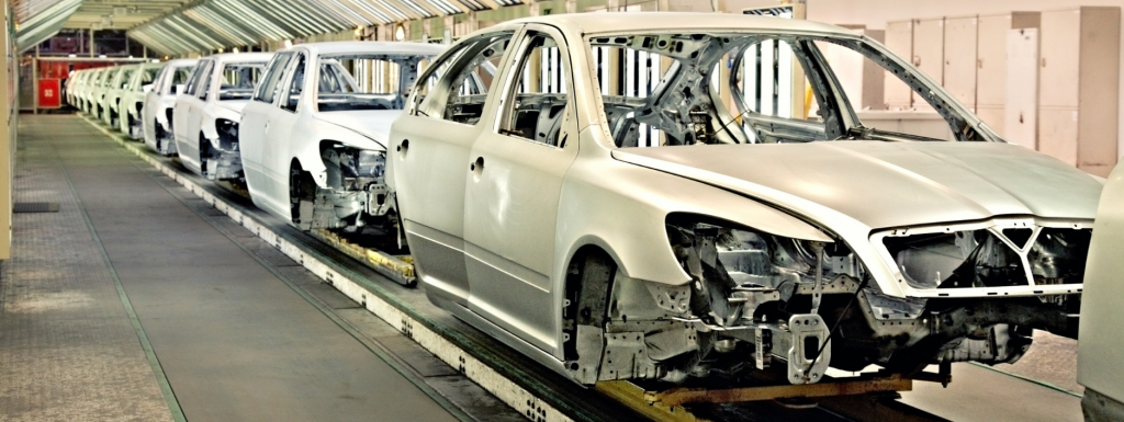 Cars in production line