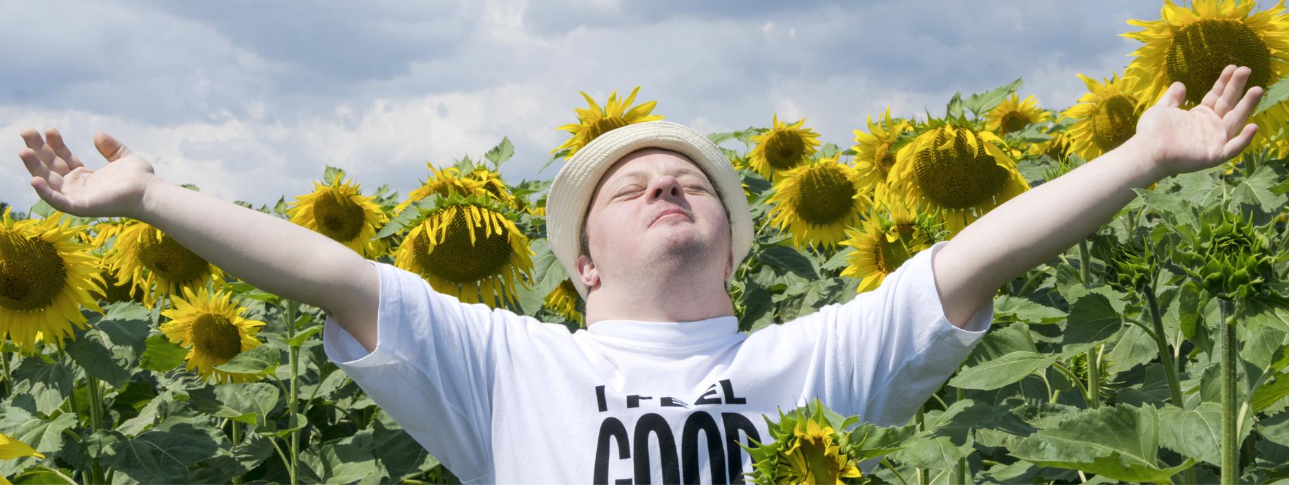 Man in a sunflower field